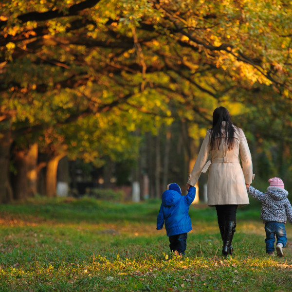 mother with children twins on a walk in the autumn park
