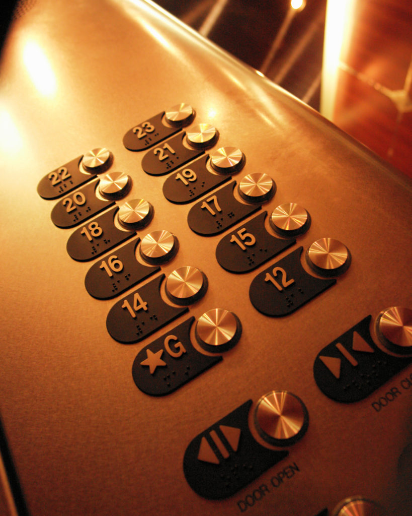Close-up shot of elevator buttons